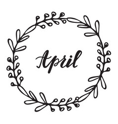 April hand drawn lettering vector