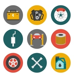 Auto Service Icons Flat vector image vector image