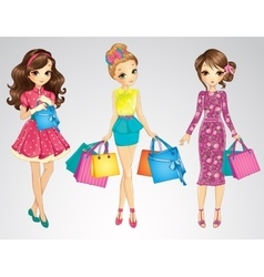 Beauty Girls With Shopping Bags vector image vector image