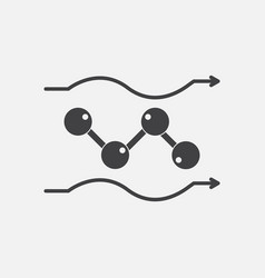 Black icon on white background molecules motion vector