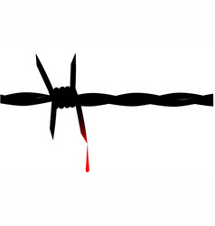 Blooded barbed wire vector