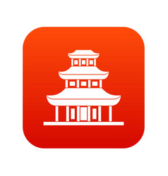 buddhist temple icon digital red vector image vector image