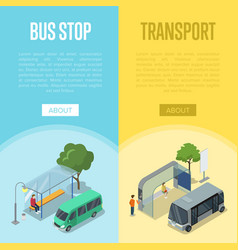 Bus station isometric 3d posters vector