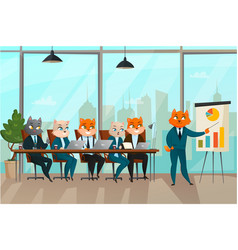 business cat presentation vector image vector image