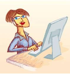 call center woman vector image vector image
