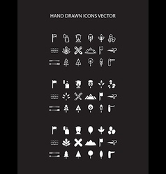 Camping icon set hand drawn on black vector