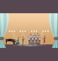 choir and pianist vector image vector image