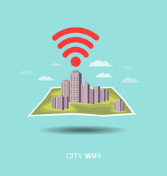 city map wifi flat design icon vector image vector image