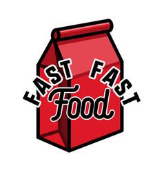 color vintage fast food emblem vector image vector image