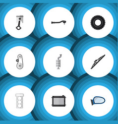 Flat icon parts set of input technology cambelt vector