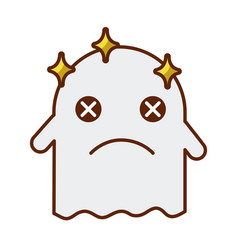 Ghost kawaii character icon vector