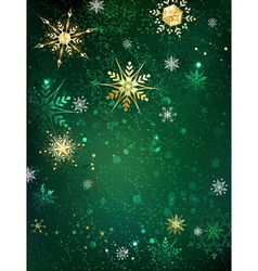 Gold Snowflakes on a Green Background vector image