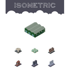 Isometric architecture set of industry clinic vector