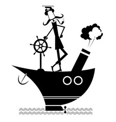 mustache captain of the ship isolated on white vector image