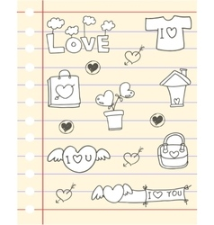 Paper hand draw love theme vector