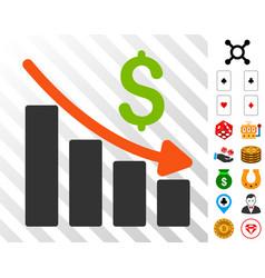 Recession trend icon with bonus vector