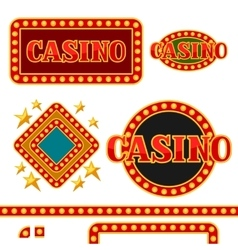 Set of casino signboards and borders with vector image