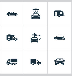Set of simple car icons vector