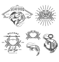 Set of vintage seafood labels and design elements vector