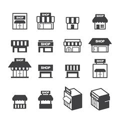 shop building icon set vector image vector image