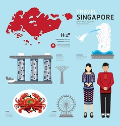 singapore Flat Icons Design Travel Concept vector image vector image