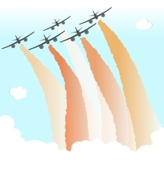 Smoke color sky plane parade group airplane fly vector