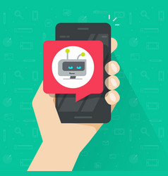 User holding smartphone with chatbot chat bubble vector