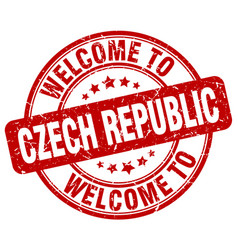 Welcome to czech republic red round vintage stamp vector