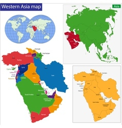 Western asia map vector