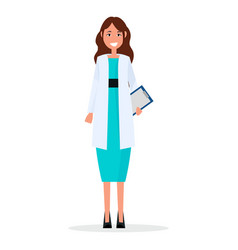 woman doctor with prescription list isolated vector image