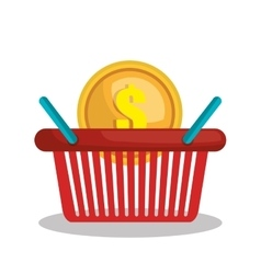 Online shopping e-commerce basket isolated vector