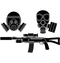 Sniper rifle and gas masks stencil vector
