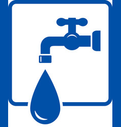 Plumbing icon with tap and water drop vector