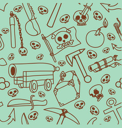 Seamless pattern of pictures on a theme of pirates vector