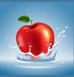 Apple in water splash vector