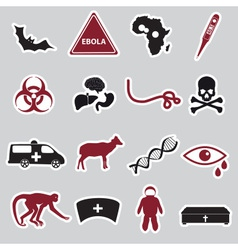 Ebola disease red and black stickers set eps10 vector