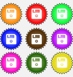 Floppy icon sign a set of nine different colored vector