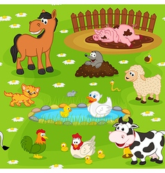 seamless pattern with farm animals vector image
