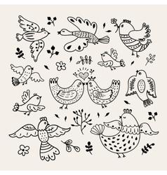 Funny hand drawn birds Decorative doodle vector image
