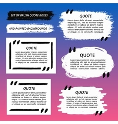 Quote boxes and brush strokes set vector