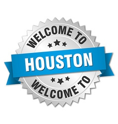 Houston 3d silver badge with blue ribbon vector