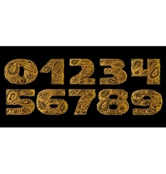 Numbers decorative set with a paisley zen doodle vector