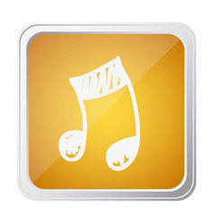 button of musical note with background yellow and vector image