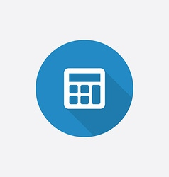 Calculator flat blue simple icon with long shadow vector