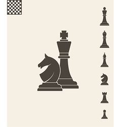 Chess pieces icon set vector