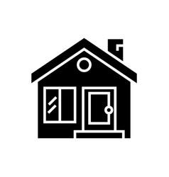 cottage with door window chimney - real estate vector image vector image