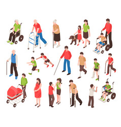 Disabled people isometric set vector