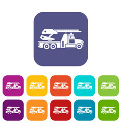 Fire engine icons set vector