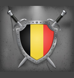Flag of belgium the shield with national flag vector