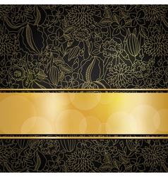 Golden floral background vector image vector image